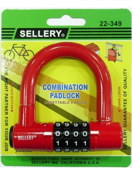 SELLERY 22-349 Red Combination Padlock (4 Digits) - Resettable