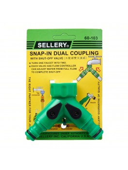 SELLERY 60-103 Two Way Snap In Hose Connector (with Flow Control)