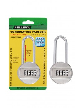 """SELLERY 22-291 Combination Padlock (4-Dial) S.S. Resettable 2.5"""" Shackle Height"""